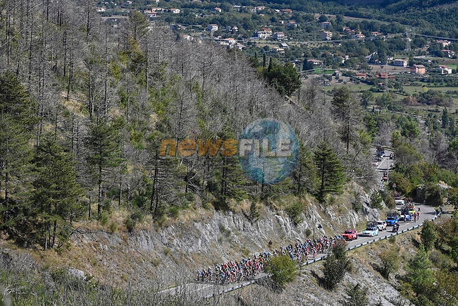The peloton during Stage 6 of the 103rd edition of the Giro d'Italia 2020 running 188km from Castrovillari to Matera, Sicily, Italy. 7th October 2020.  <br /> Picture: LaPresse/Fabio Ferrari | Cyclefile<br /> <br /> All photos usage must carry mandatory copyright credit (© Cyclefile | LaPresse/Fabio Ferrari)