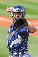 San Antonio Missions catcher Tuffy Gosewisch (3) warms up in the bullpen prior to a Pacific Coast League game against the Iowa Cubs on May 2, 2019 at Principal Park in Des Moines, Iowa. Iowa defeated San Antonio 8-6. (Brad Krause/Four Seam Images)
