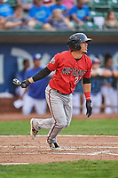 Carlos Rivero (23) of the Billings Mustangs bats against the Ogden Raptors at Lindquist Field on August 17, 2018 in Ogden, Utah. Billings defeated Ogden 6-3. (Stephen Smith/Four Seam Images)