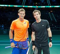Februari 12, 2015, Netherlands, Rotterdam, Ahoy, ABN AMRO World Tennis Tournament, Vasek Pospisil (CAN) -Andy Murray (GBR)<br /> Photo: Tennisimages/Henk Koster