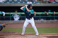 Cody Farhat (47) of the Lynchburg Hillcats at bat against the Myrtle Beach Pelicans at Bank of the James Stadium on May 22, 2021 in Lynchburg, Virginia. (Brian Westerholt/Four Seam Images)