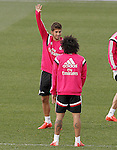 Real Madrid's Lucas Silva and Marcelo Vieira during training session.January 30,2015.(ALTERPHOTOS/Acero)