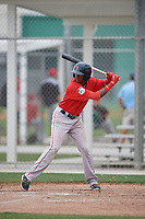 Boston Red Sox Yoan Aybar (32) bats during a minor league Spring Training intrasquad game on March 31, 2017 at JetBlue Park in Fort Myers, Florida. (Mike Janes/Four Seam Images)