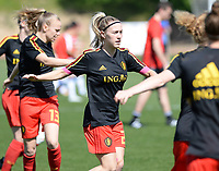 20180228 - LARNACA , CYPRUS :  Belgian Celien Guns pictured during warming up of the women's soccer game between The Belgian Red Flames and the Czech Republic , on wednesday 28 February 2018 at GSZ Stadium in Larnaca , Cyprus . This is the first game in group B for Belgium during the Cyprus Womens Cup , a prestigious women soccer tournament as a preparation on the World Cup 2019 qualification duels. PHOTO SPORTPIX.BE   DAVID CATRY