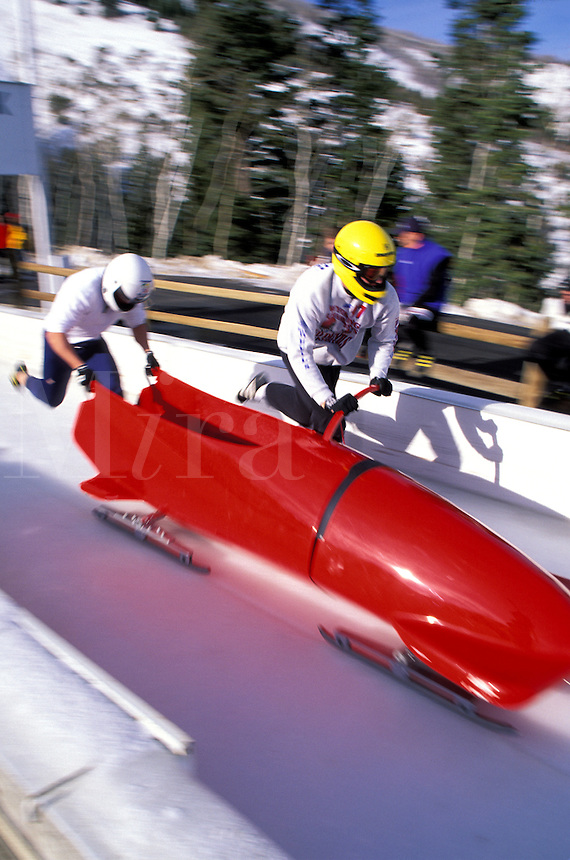 Bobsled racing start at Utah Winter Sports Park, Park City, Utah
