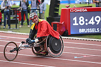 5th September 2020, Brussels, Netherlands;  Belgiums Peter Genyn reacts after winning 100m Wheelchair Men at the Diamond League Memorial Van Damme athletics event at the King Baudouin stadium in Brussels, Belgium