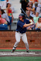 Danville Braves second baseman Greg Cullen (9) at bat during a game against the Johnson City Cardinals on July 28, 2018 at TVA Credit Union Ballpark in Johnson City, Tennessee.  Danville defeated Johnson City 7-4.  (Mike Janes/Four Seam Images)