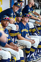 Michigan Wolverines first baseman Jimmy Kerr (15) in the dugout before Game 3 of the NCAA College World Series Finals on June 26, 2019 at TD Ameritrade Park in Omaha, Nebraska. Vanderbilt defeated Michigan 8-2 to win the National Championship. (Andrew Woolley/Four Seam Images)