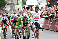 Picture by Alex Whitehead/SWpix.com - 22/09/2013 - Cycling - Tour of Britain, Stage 8 - The London Stage - Omega Pharma-Quick Step's Mark Cavendish celebrates winning stage 8 in a sprint finish.