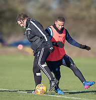 Wycombe Wanderers Manager Gareth Ainsworth with Curtis Thompson of Wycombe Wanderers during the Wycombe Wanderers Training session at Wycombe Training Ground, High Wycombe, England on 17 January 2019. Photo by Andy Rowland.