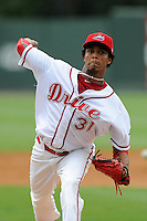Pitcher Raynel Velette (31) of the Greenville Drive in a game against the Lexington Legends on Friday, August 18, 2013, at Fluor Field at the West End in Greenville, South Carolina. Lexington won, 5-0. (Tom Priddy/Four Seam Images)