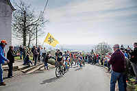 early breakaway group up the 1st climb of the day; the Catsberg/Mont des Cats<br /> <br /> 79th Gent-Wevelgem 2017 (1.UWT)<br /> 1day race: Deinze › Wevelgem - BEL (249km)