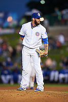 South Bend Cubs pitcher Daniel Lewis (16) looks in for the sign during a game against the Cedar Rapids Kernels on June 5, 2015 at Four Winds Field in South Bend, Indiana.  South Bend defeated Cedar Rapids 9-4.  (Mike Janes/Four Seam Images)