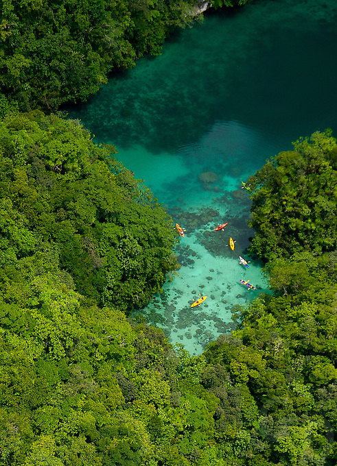 A favorite Kayaking spot, Aerial of the Rock islands, Mandarin Fish lake Palau Micronesia