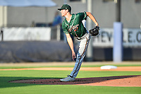 Greensboro Grasshoppers starting pitcher Grant Ford (41) delivers a pitch during a game against the Asheville Tourists on August 24, 2021 at McCormick Field in Asheville, NC. (Tony Farlow/Four Seam Images)