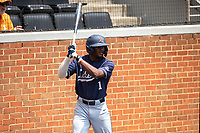 Liberty Flames center fielder Jaylen Guy (1) on deck during the game against the Duke Blue Devils in NCAA Regional play on Robert M. Lindsay Field at Lindsey Nelson Stadium on June 4, 2021, in Knoxville, Tennessee. (Danny Parker/Four Seam Images)