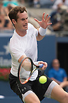 Andy Murray (GBR) struggles and loses the first set from Adrian Mannarino (FRA) 7-5 at the US Open in Flushing, NY on September 3, 2015.