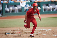 Tyler McDonough (13) of the North Carolina State Wolfpack starts down the first base line against the North Carolina Tar Heels at Boshamer Stadium on March 27, 2021 in Chapel Hill, North Carolina. (Brian Westerholt/Four Seam Images)