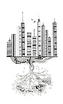 Illustrative image of business buildings and tree representing deterioration of environment