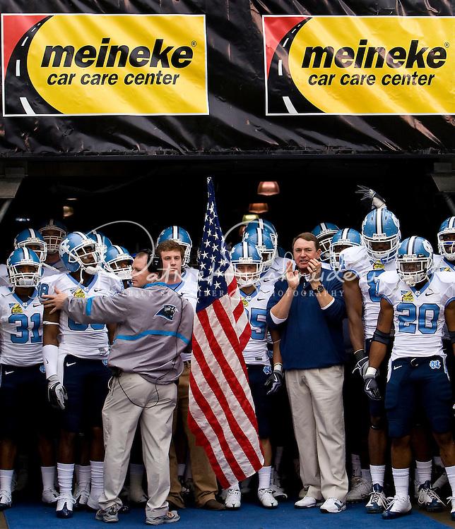 North Carolina head coach Butch Davis during the Meineke Car Care Bowl college football game at Bank of America Stadium in Charlotte, NC.