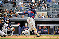 Apr 07, 2011; Bronx, NY, USA; Minnesota Twins outfielder Denard Span (2) during game against the New York Yankees at Yankee Stadium. Yankees defeated the Twins 4-3. Mandatory Credit: Tomasso De Rosa/ Four Seam Images