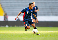 GUADALAJARA, MEXICO - MARCH 28: Jesus Ferreira #9 of the United States dribbles with the ball during a game between Honduras and USMNT U-23 at Estadio Jalisco on March 28, 2021 in Guadalajara, Mexico.
