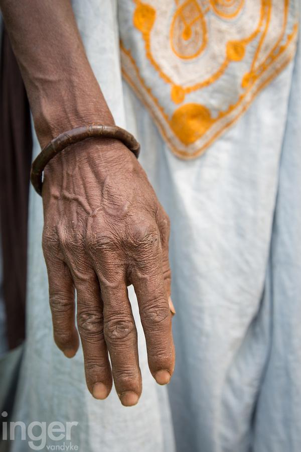Fulani elder's hands at Tambacounda, Senegal