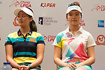 Liu Xi Yu (left) and Shi Yuting attend the press conference at the beginning of World Ladies Championship 2016 on 09 March 2016 at Mission Hills Olazabal Golf Course in Dongguan, China. Photo by Victor Fraile / Power Sport Images
