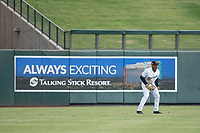 Salt River Rafters center fielder Corey Ray (2) of the Milwaukee Brewers organization, during an Arizona Fall League game against the Mesa Solar Sox on October 30, 2017 at Salt River Fields at Talking Stick in Scottsdale, Arizona. The Solar Sox defeated the Rafters 8-4. (Zachary Lucy/Four Seam Images)