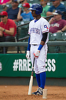 Round Rock Express shortstop Jurickson Profar #10 on deck against the New Orleans Zephyrs in the Pacific Coast League baseball game on April 21, 2013 at the Dell Diamond in Round Rock, Texas. Round Rock defeated New Orleans 7-1. (Andrew Woolley/Four Seam Images).