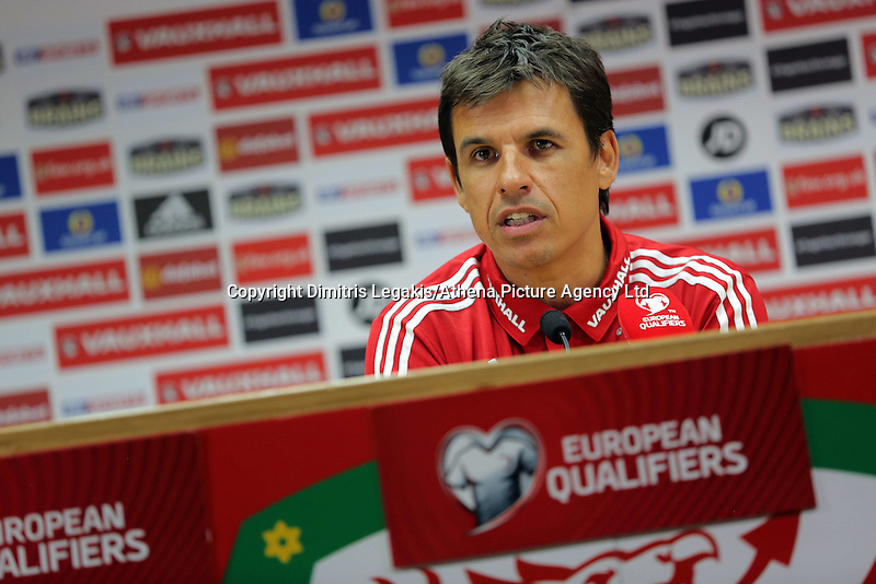 CARDIFF, WALES - SEPTEMBER 05: Manager Chris Coleman gives a press conference prior to the Wales training session, ahead of the UEFA Euro 2016 qualifier against Israel, at the Cardiff City Stadium on September 5, 2015 in Cardiff, Wales.