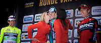 De Ronde van Vlaanderen 2012..podium kisses for Tom; the Italians wanted these...
