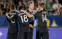 CARSON, CA - SEPTEMBER 21: Lassi Lappalainen #21, Orji Okwonkwo #18 and the Montreal Impact celebrates Lassi's goal during a game between Montreal Impact and Los Angeles Galaxy at Dignity Health Sports Park on September 21, 2019 in Carson, California.