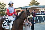 16 July 2011: Air Support and Alex Solis before winning the $600,000 Virginia Derby (Gr II) at Colonial Downs in New Kent, Va. Air Support is owned by Stuart S. Janney, III and trained by Claude R. McGaughey III (Susan M. Carter/Eclipse Sportswire)