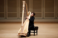 Xinyue Zhang performs during the Stars of Tomorrow Concert at the 11th USA International Harp Competition at Indiana University in Bloomington, Indiana on Thursday, July 11, 2019. (Photo by James Brosher)