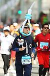 Feb. 27, 2011 - Tokyo, Japan - A man dressed in a Tokyo Sky Tree costume takes part in the Tokyo Marathon. (Photo by Daiju Kitamura/AFLO SPORT)