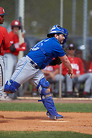 Toronto Blue Jays catcher Ryan Gold (20) throws down to second base during an exhibition game against the Canada Junior National Team on March 8, 2020 at Baseball City in St. Petersburg, Florida.  (Mike Janes/Four Seam Images)