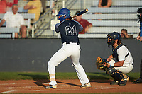 Fermin Osio (21) (UNC Asheville) of the Carolina Venom at bat against the Mooresville Spinners at Moor Park on June 22, 2020 in Mooresville, NC.  The Spinners defeated the Venom 7-2. (Brian Westerholt/Four Seam Images)