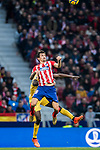 Stefan Savic (R) of Atletico de Madrid fights for the ball with Michael Olunga Ogada of Girona FC during the La Liga 2017-18 match between Atletico de Madrid and Girona FC at Wanda Metropolitano on 20 January 2018 in Madrid, Spain. Photo by Diego Gonzalez / Power Sport Images