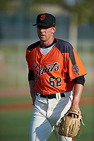 AZL Giants Orange starting pitcher Nick Avila (62) walks off the field between innings of an Arizona League game against the AZL Mariners on July 18, 2019 at the Giants Baseball Complex in Scottsdale, Arizona. The AZL Giants Orange defeated the AZL Mariners 7-4. (Zachary Lucy/Four Seam Images)