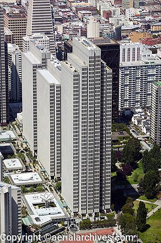 aerial photograph Embarcadero Center office skyscrapers San Francisco