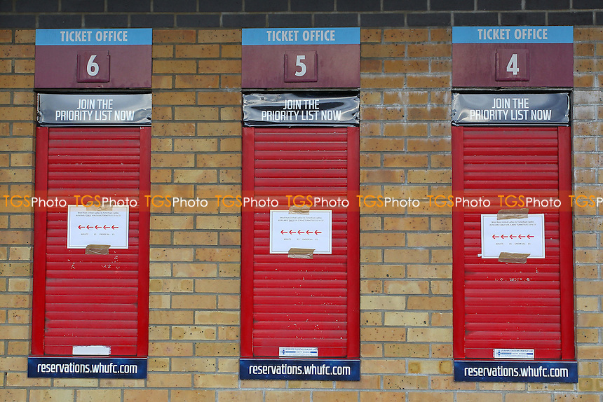 West Ham ticket office ahead of West Ham United Ladies vs Tottenham Hotspur Ladies, FA Women's Premier League Football at the Boleyn Ground, Upton Park