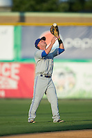 Bluefield Blue Jays shortstop Aaron Attaway (5) catches a fly ball during the game against the Burlington Royals at Burlington Athletic Park on June 29, 2015 in Burlington, North Carolina.  The Royals defeated the Blue Jays 4-1. (Brian Westerholt/Four Seam Images)