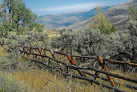 Old wooden fence line running through the sage brush in Montana. This style of fence is called a jackleg here in Montana