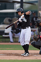 AZL White Sox designated hitter Nick Madrigal (7) takes a practice swing during an Arizona League game against the AZL Diamondbacks at Camelback Ranch on July 12, 2018 in Glendale, Arizona. The AZL Diamondbacks defeated the AZL White Sox 5-1. (Zachary Lucy/Four Seam Images)
