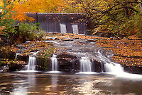 waterfall, fall, North Bennington, VT, Vermont, A small waterfall and larger waterfall in the background flow down Paran Creek in North Bennington in autumn.