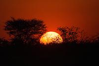 Sunset at Okaukuejo in Etosha, Namibia