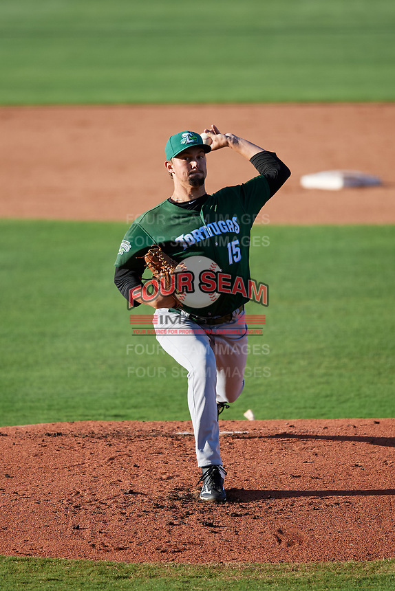 Daytona Tortugas starting pitcher Scott Moss (15) delivers a pitch during a game against the St. Lucie Mets on August 3, 2018 at First Data Field in Port St. Lucie, Florida.  Daytona defeated St. Lucie 3-2.  (Mike Janes/Four Seam Images)