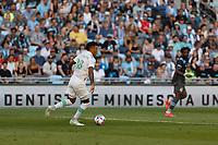 SAINT PAUL, MN - JUNE 23: Julio Cascante #18 of Austin FC during a game between Austin FC and Minnesota United FC at Allianz Field on June 23, 2021 in Saint Paul, Minnesota.