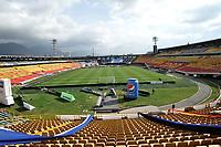 BOGOTA - COLOMBIA, 18-02-2021: Panoramica del estadio El Campin previo al partido entre Millonarios F. C. y Deportivo Pasto de la fecha 7 por la Liga BetPlay DIMAYOR I 2021 jugado en el estadio Nemesio Camacho El Campin de la ciudad de Bogota. / Panoramic view of the El Campin stadium prior a match between Millonarios F. C. and Deportivo Pasto of the 7th date for the BetPlay DIMAYOR I 2021 League played at the Nemesio Camacho El Campin Stadium in Bogota city. / Photo: VizzorImage / Luis Ramirez / Staff.